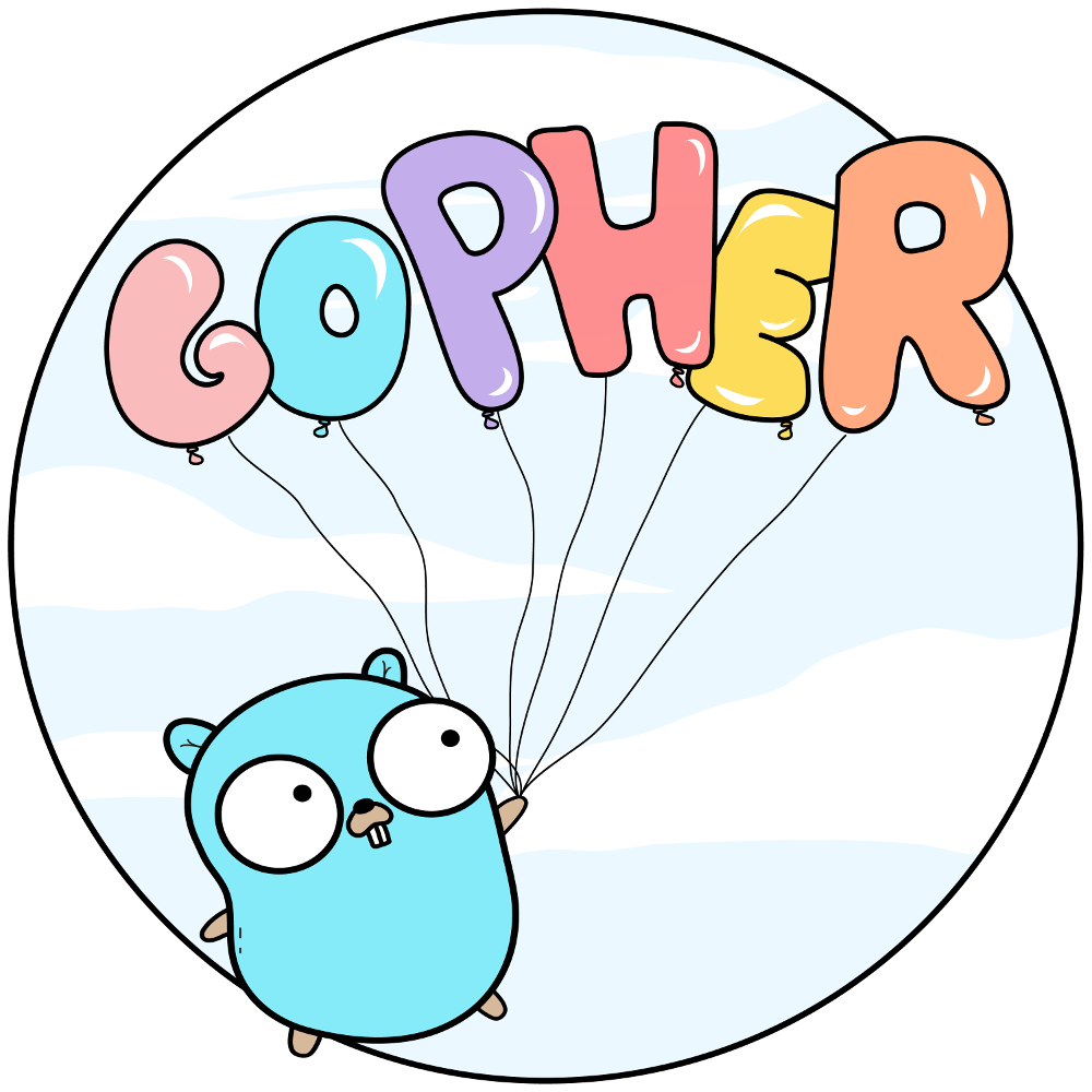 gopher with balloons